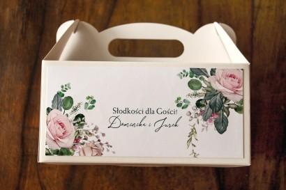 Ślubne Pudełko na Ciasto (prostokątne) z różami i zielonymi gałązkami eukaliptusa