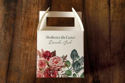 Ślubne Pudełko na Ciasto (kwadratowe) z różami i zielonymi gałązkami eukaliptusa