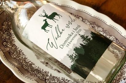 Ślubne Etykiety samoprzylepne na butelki z leśną grafiką jeleni