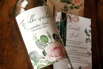 Ślubne Etykiety samoprzylepne na butelki z różami i zielonymi gałązkami eukaliptusa