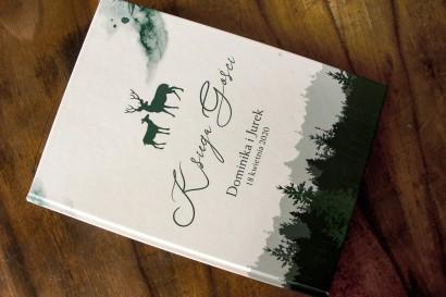 Ślubna Księga Gości z leśną grafiką jeleni