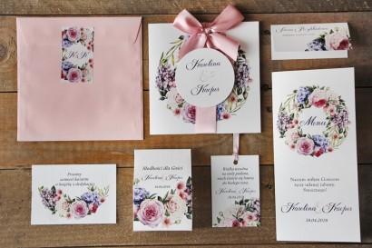 Zaproszenie ślubne z dodatkami - Akwarele nr 17 - Romantyczny wzór kwiatowy