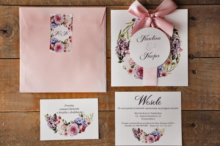 Zaproszenie ślubne z bilecikami - Akwarele nr 17 - Różowe i fioletowe kwiaty