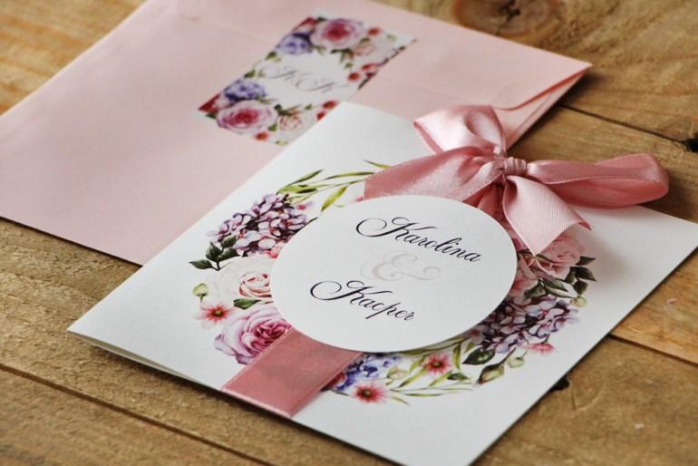 Zaproszenie ślubne z kokardą i kolorową kopertą - Akwarele nr 17 - Pudrowe kwiaty