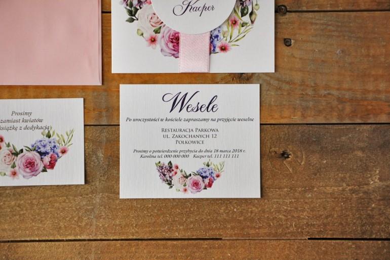 Bilecik do zaproszenia 120 x 98 mm prezenty ślubne wesele - Akwarele nr 17 - Pudrowe kwiaty