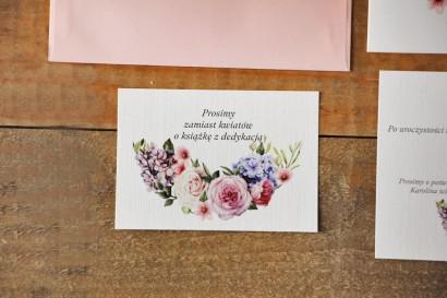 Bilecik do zaproszenia 105 x 74 mm prezenty ślubne wesele - Akwarele nr 17 - Pastelowe kwiaty