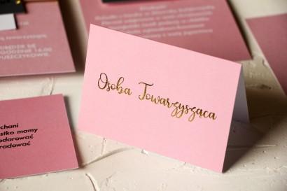 Klasyczne i Nowoczesne, różowe Winietki Ślubne ze złoceniem