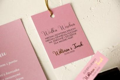 Klasyczne i Nowoczesne Ślubne zawieszki na butelki na alkohol ze złoceniem w kolorze różowym