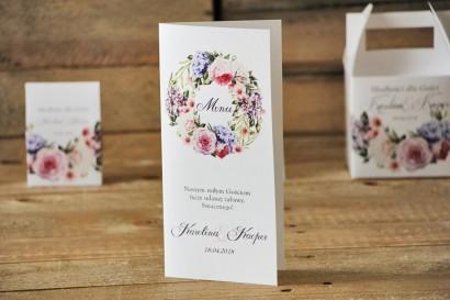 Menu weselne, stół weselny - Akwarele nr 17 - Pudrowe kwiaty