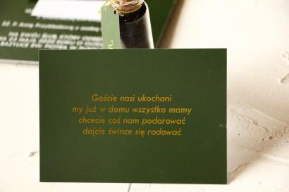 Bilecik ze złoceniem do zaproszeń ślubnych w kolorze butelkowej zieleni