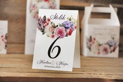 Numery stolików, stół weselny, ślub - Akwarele nr 17 - Pastelowe kwiaty róży, bzu