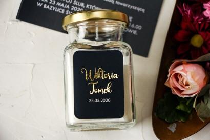 Świeczki Ślubne ze złoconą etykietą w kolorze granatowym - Podziękowania dla Gości