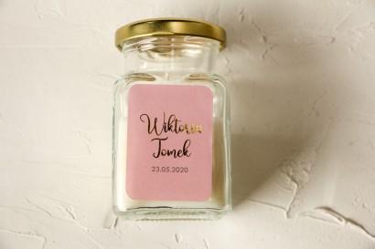 Świeczki Ślubne ze złoconą etykietą w kolorze pudrowego różu - Podziękowania dla Gości