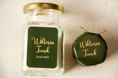 Świeczki Ślubne ze złoconą etykietą w kolorze butelkowej zieleni - Podziękowania dla Gości
