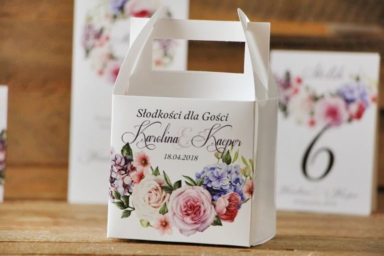 Pudełko na ciasto kwadratowe, tort weselny - Akwarele nr 17 - Pastelowe kwiaty