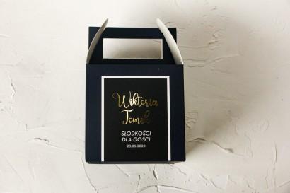 Ślubne Pudełko na Ciasto - kwadratowe - ze złoceniami w kolorze granatowym