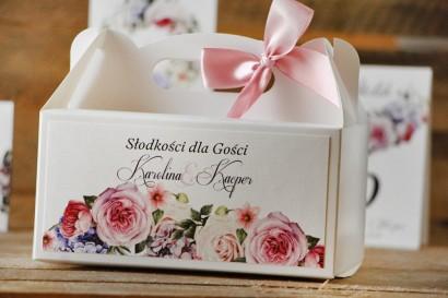 Prostokątne pudełko na ciasto, tort weselny, ślub - Akwarele nr 17 - Pastelowe kwiaty