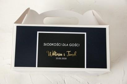 Ślubne Pudełko na Ciasto - prostokątne - ze złoceniami w kolorze granatowym