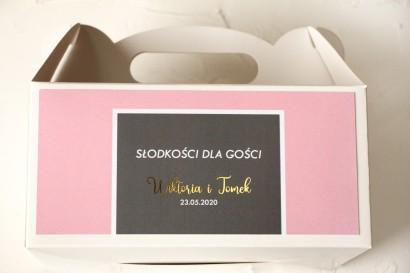 Ślubne Pudełko na Ciasto - prostokątne - ze złoceniami w kolorze pudrowego różu