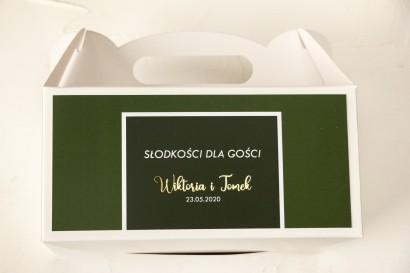 Ślubne Pudełko na Ciasto - prostokątne - ze złoceniami w kolorze butelkowej zieleni