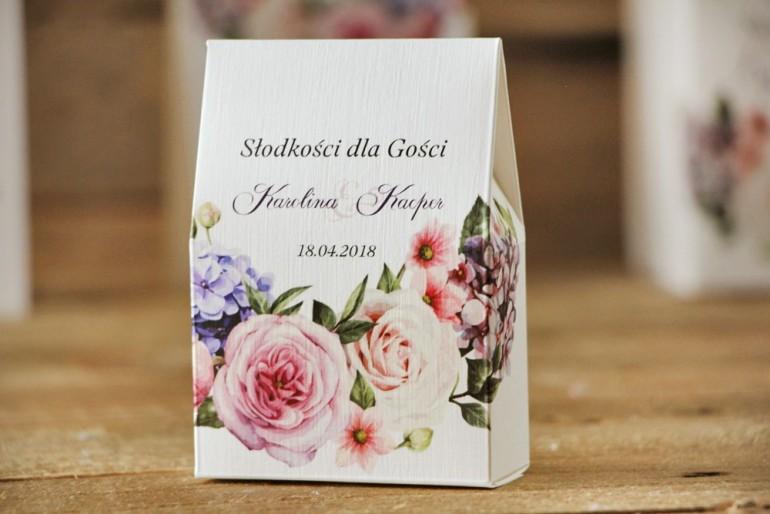 Pudełeczko stojące na cukierki, podziękowania dla Gości weselnych - Akwarele nr 17 - Pastelowe kwiaty