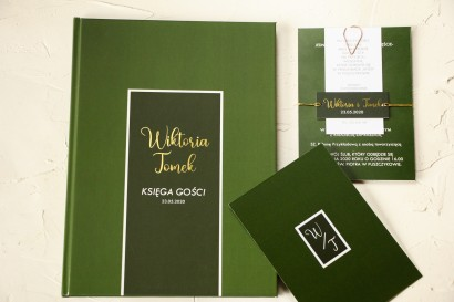 Ślubna Księga Gości ze złoceniami w kolorze butelkowej zieleni