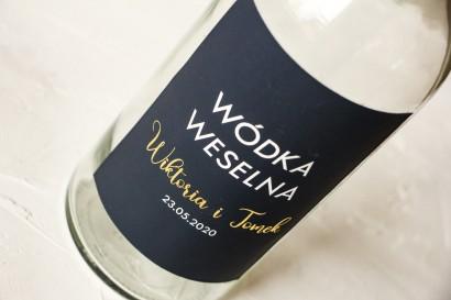 Ślubne, Złocone Etykiety na butelki na alkohol w kolorze granatowym