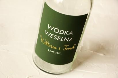 Ślubne, Złocone Etykiety na butelki na alkohol w kolorze butelkowej zieleni