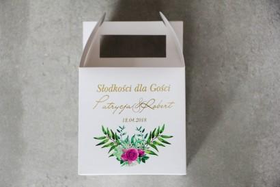 Pudełko na ciasto kwadratowe, tort weselny - Cykade nr 4 ze złoceniem - Róże w odcieniach fuksji