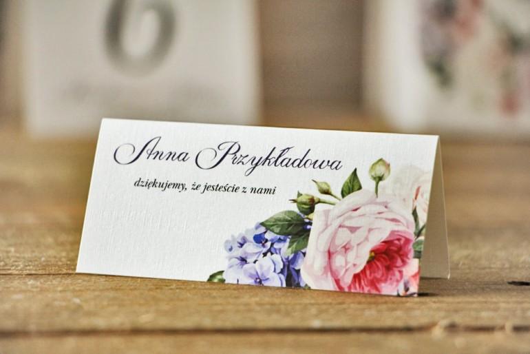 Winietki na stół weselny, ślub - Akwarele nr 17 - Pastelowe kwiaty róży i bzu