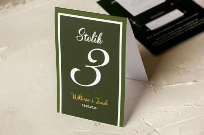 Ślubne Numery stolików ze złoceniami w kolorze butelkowej zieleni