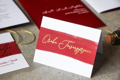 Winietki Ślubne z bordową akwarelową grafiką ze złotą personalizacją