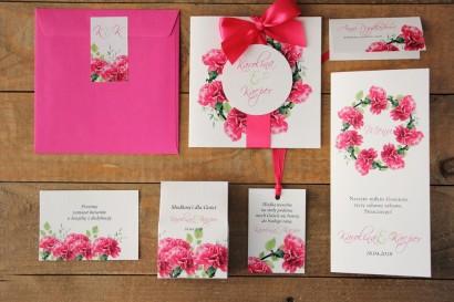 Zaproszenie ślubne z dodatkami - Akwarele nr 18 - Różowe goździki