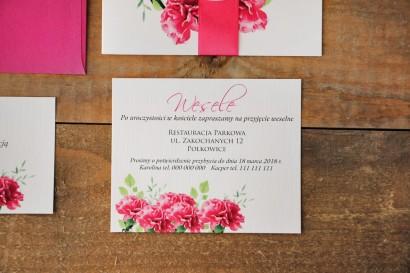 Bilecik do zaproszenia 120 x 98 mm prezenty ślubne wesele - Akwarele nr 18 - Amarantowe goździki