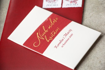 Nasiona Ślubne niezapominajki - Podziękowania dla Gości - Opakowanie z bordową akwarelową grafiką ze złotym napisem