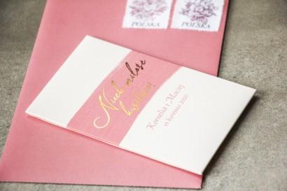 Nasiona Ślubne niezapominajki - Podziękowania dla Gości - Opakowanie z różową akwarelową grafiką ze złotym napisem