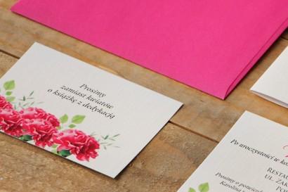 Bilecik do zaproszenia 105 x 74 mm prezenty ślubne wesele - Akwarele nr 18 - Amarantowe goździki