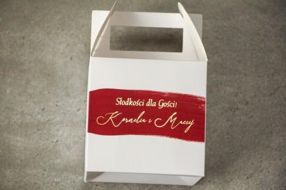 Ślubne Pudełko na Ciasto weselne (kwadratowe) z bordową akwarelową grafiką ze złotym napisem