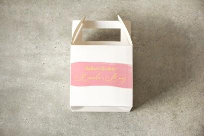 Ślubne Pudełko na Ciasto weselne (kwadratowe) z różową akwarelową grafiką ze złotym napisem