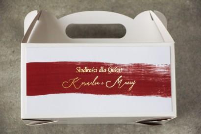 Ślubne Pudełko na Ciasto weselne (prostokątne) z bordową akwarelową grafiką ze złotym napisem