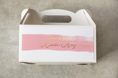 Ślubne Pudełko na Ciasto weselne (prostokątne) z różową akwarelową grafiką ze złotym napisem