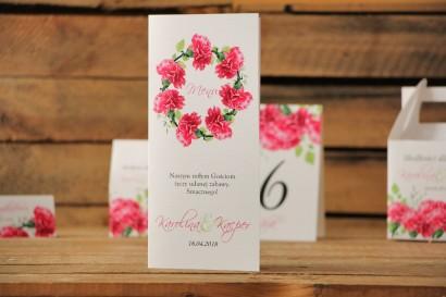 Menu weselne, stół weselny - Akwarele nr 18 - Amarantowe goździki