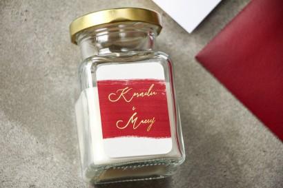 Świeczki Ślubne - podziękowania dla gości weselnych z bordową akwarelową grafiką i złotym napisem