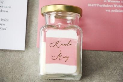 Świeczki Ślubne - podziękowania dla gości weselnych z różową akwarelową grafiką i złotym napisem