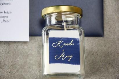 Świeczki Ślubne - podziękowania dla gości weselnych z granatową akwarelową grafiką i złotym napisem
