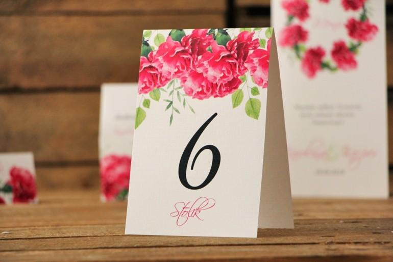 Numery stolików, stół weselny, ślub - Akwarele nr 18 - Amarantowe goździki