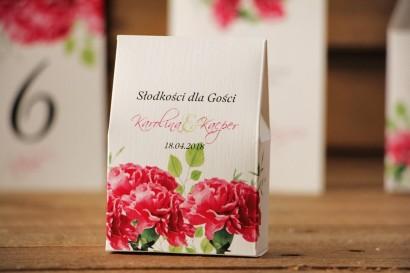 Pudełeczko stojące na cukierki, podziękowania dla Gości weselnych - Akwarele nr 18 - Amarantowe goździki