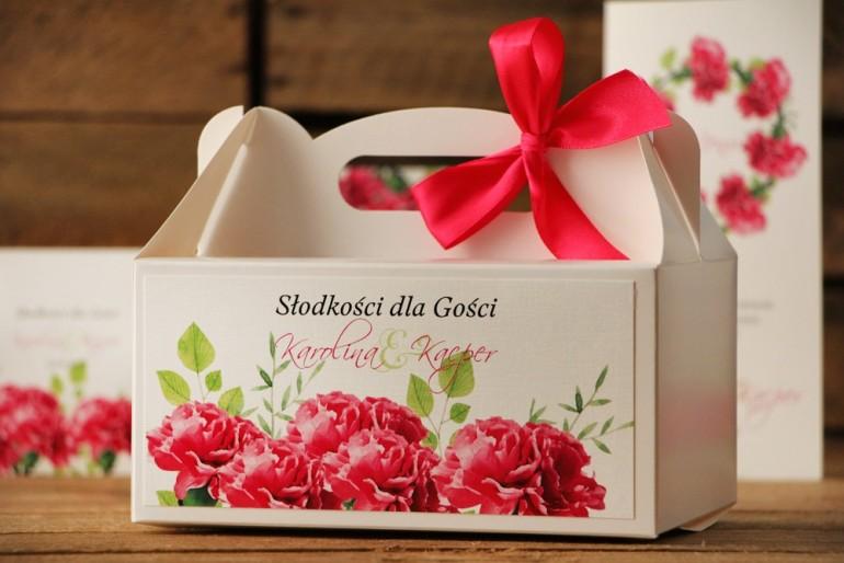 Prostokątne pudełko na ciasto, tort weselny, ślub - Akwarele nr 18 - Amarantowe goździki