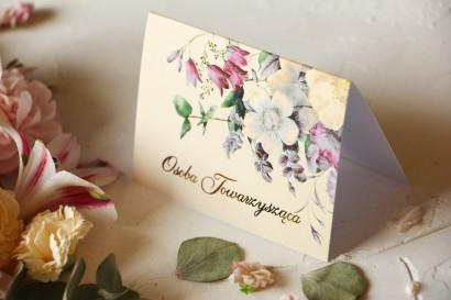 Kwiatowe Winietki Ślubne ze złoceniami oraz z eleganckim bukietem w stylu vintage z różowymi kwiatami