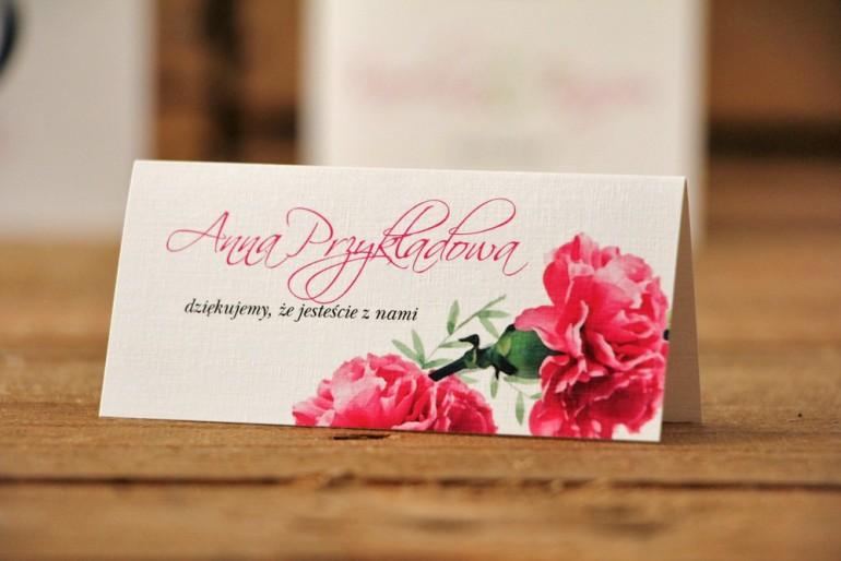 Winietki na stół weselny, ślub - Akwarele nr 18 - Amarantowe goździki